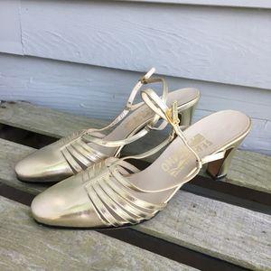 SAVATORE FERRAGAMO Gold Slingback Shoes 8.5